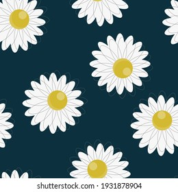 seamless pattern of daisies on a dark blue background