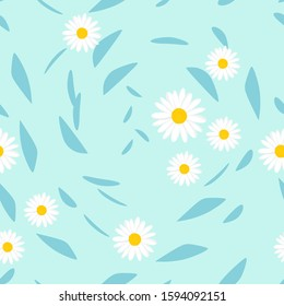 Seamless pattern with daisy flower and flying leaves on blue background vector illustration.