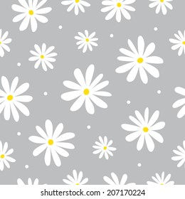 Seamless pattern daisy on gray
