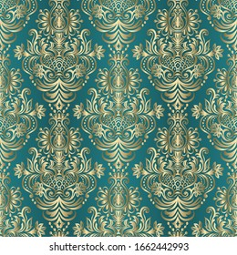 Seamless pattern with damask ornament. Vector vintage floral seamless pattern element.