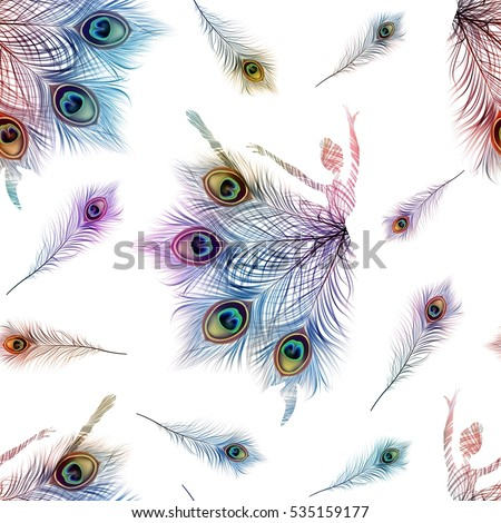 Seamless pattern with dancing ballerinas on a white background. Vector ornament with peacock feathers.