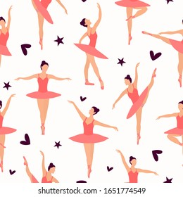 Seamless pattern of Dancing ballerinas silhouette in pink pointe shoes, tutu and leotard for ballet on a white background. Pastel small randomly located ballerinas. Black little hearts and stars.