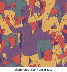Seamless Pattern of dancing people