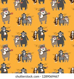 Seamless pattern with dancing and singing animals at the party, in doodle style. Fine for stationery, wrapping paper, fabric print.