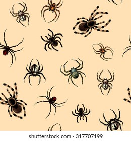 Seamless pattern with dangerous realistic spiders