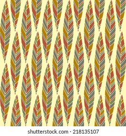 Seamless pattern with dark autumn leaves on yellow background. Good idea for textile, wrapping, wallpepar or cloth design. Autumn leaf background. Vintage illustration.