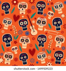 Seamless pattern Day of the Dead.  Decorative skulls and flowers on an orange background. Vector full color graphics