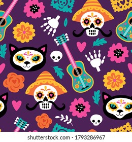 Seamless pattern for Day of the dead Dia de los Muertos holiday. Childish background for fabric, wrapping paper, textile, wallpaper and apparel. Vector illustration