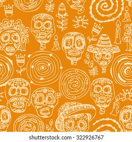 Seamless pattern for Day of the dead skull. Woman with calavera makeup. Dia de los muertos Text in Spanish.
