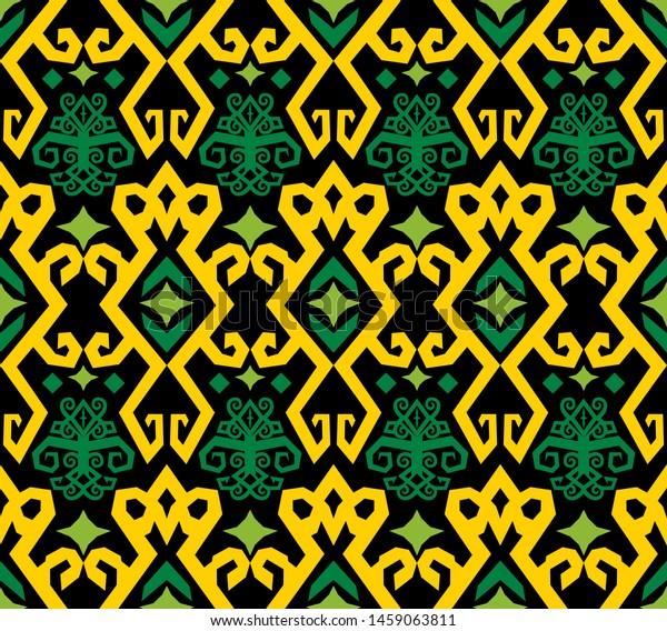 Seamless Pattern Dayak Batik Borneo Motif Stock Vector