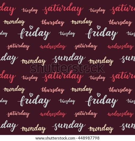 Seamless Pattern Days Week Decorative Vector Stock Vector (Royalty