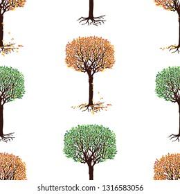 Seamless pattern of deciduous trees in various seasons