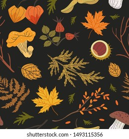 Seamless pattern decorated with floral elements: brier, fir needles, sandthorn, cape gooseberry, fern, maple leaves. Autumn forest illustration for textile, fabric, wrapping paper print background.