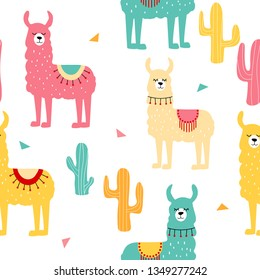 Seamless pattern with decorated lamas and cactus. Trendy cartoon print.Pink, yellow, blue  animal on white backdrop