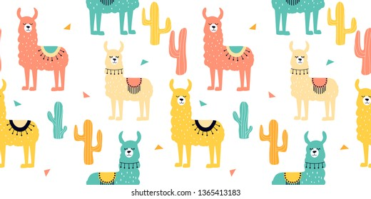 Seamless pattern with decorated lamas in poncho and cactus. Trendy cartoon print.Pink, yellow, blue  animal on white backdrop