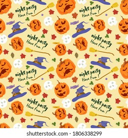 seamless pattern for decoration design, for all saints eve Halloween, pumpkins, witch hats, broom, flat vector illustration