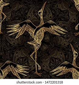 Seamless pattern. Decorative background consisting of Indian mandalas, Paisley and dancing crane. Arabic, Indian, Japanese motifs. Perfect for printing on fabric or paper.