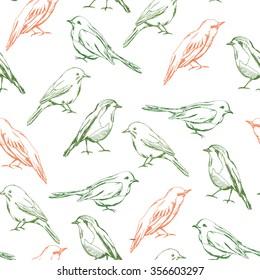 Seamless pattern with decorative birds. Birds vector seamless pattern