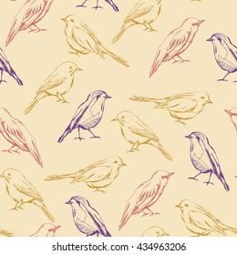 Seamless pattern with decorative birds. Birds vector seamless pattern. Color birds.