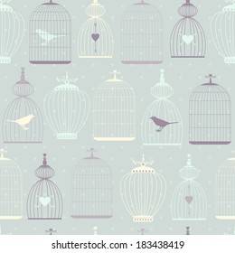Seamless pattern with decorative cages in retro colors. Vector background.
