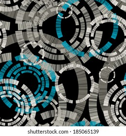 Seamless pattern with decorative circles on black background. Vector abstract grunge texture.
