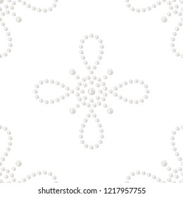 Seamless pattern of decorative cross. Embellishment made of realistic white pearl. Can be used for wedding, textile or gift paper. Precious jewelry beads print. Vector Illustration.