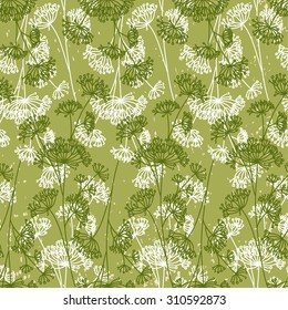 Seamless pattern with decorative dill plant on green background. Vector illustration.