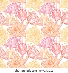 Seamless pattern with decorative doodle tulips hand drawn in lines. Vector illustration