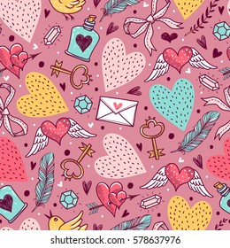 Seamless pattern with decorative elements for Valentine's Day. Freehand drawing