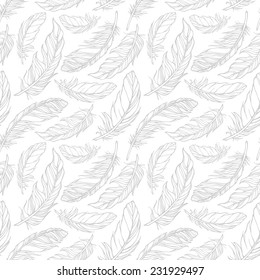 Seamless pattern with decorative feathers. Vector illustration