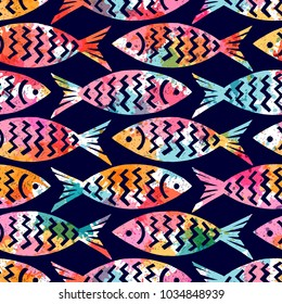 Seamless pattern with decorative fish. Freehand drawing. Can be used on packaging paper, fabric, background for different images, etc.