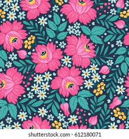 Seamless pattern with decorative flowers. Freehand drawing