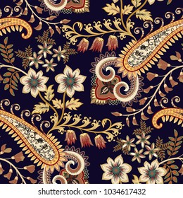 seamless pattern with decorative flowers, leaves, ornate paisley in yellow and brown tint on a dark background