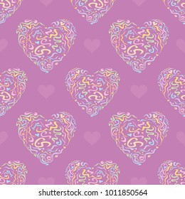 Seamless pattern with decorative hearts in pastel colors on lilac background. Valentines Day. Vector image.