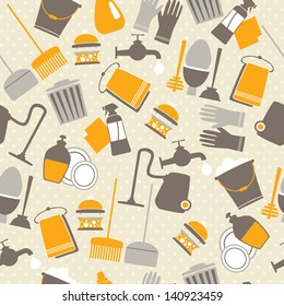 Seamless pattern with decorative home cleaning elements on spotted background. Vector illustration.