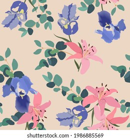 Seamless pattern with decorative iris flower, lily and branch eucalyptus on a beige background. Vector Illustration. For decoration textile, packaging, wallpaper.