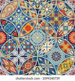 Seamless pattern with decorative mandalas. Vintage mandala elements