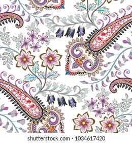 seamless pattern with decorative paisley, small and big flowers, leaves in pastel tint
