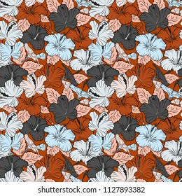 Seamless pattern with decorative summer hibiscus flowers in gray and orange colors, watercolor vector illustration.