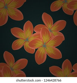 Seamless pattern with decorative summer plumeria flowers in yellow, orange and blue colors, watercolor vector illustration.