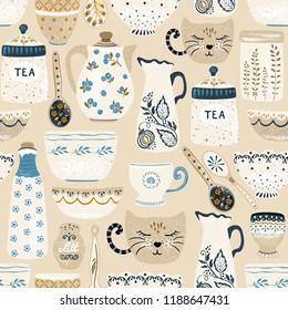 Seamless pattern of decorative tableware items. Vintage ceramic kitchen utensils or crockery - cups, dishes, bowls, pitchers. Vector illustration in flat rustic style.