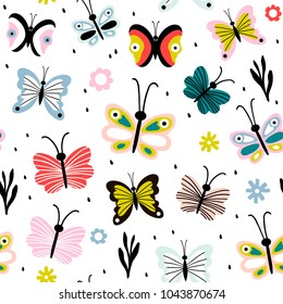 Seamless pattern with decorativebutterflies and moths in scandinavian style. Great for fabric, textile. Vector background