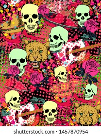 Seamless pattern dedicated to the Mexican Day of the Dead. Suitable for fabric, wrapping paper and the like