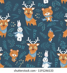 Seamless pattern with deer, bear and bunny. Perfect for cards, invitations, wallpaper, banners, kindergarten, baby shower, children room decoration.