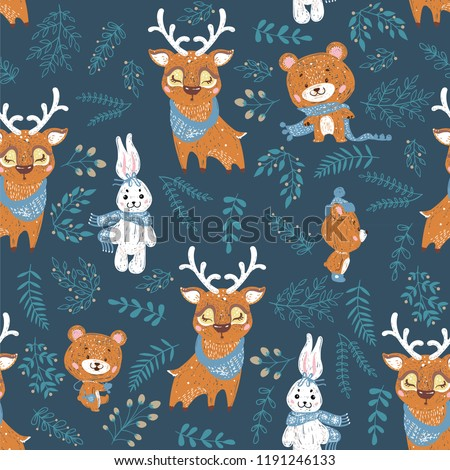 Seamless Pattern Deer Bear Bunny Perfect Stock Vector Royalty Free
