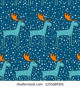 Seamless pattern with deer. Turquoise deer and white snowflakes on dark blue background. Drawn by hand in cartoon style.