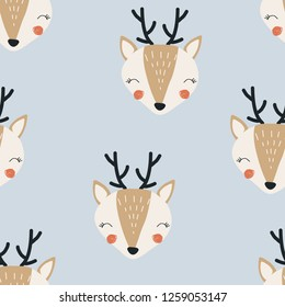 Seamless pattern with deer. Vector illustration for printing on packaging paper, children's clothing, bed linen, fabric, postcard. Cute baby background.
