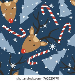 Seamless pattern, deers, christmas trees, snow, candy canes, hand drawn backdrop. Colorful background vector. Design illustration. Decorative wallpaper, good for printing. Happy New Year. Winter time