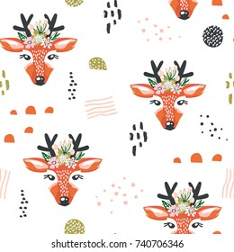 Seamless pattern with deers and drawn elements. Creative woodland background. Perfect for kids apparel,fabric, textile, nursery decoration,wrapping paper.Vector Illustration