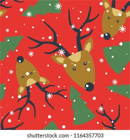 Seamless pattern, deers, fir trees, snow, hand drawn overlapping backdrop. Colorful background vector. Design illustration. Decorative wallpaper, good for printing. Happy New Year. Winter time
